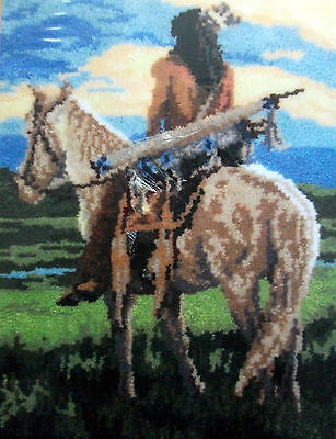 "Latch Hook Rug Making  Kit Indian On Horseback  ""curious"""