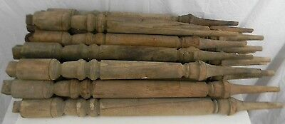 "Vintage Lot of 18 Walnut Staircase Spindles Balusters 33"" Long 8"" Around Widest"