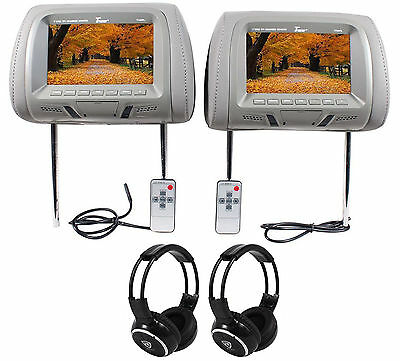 """Tview Pair of T726PL-GR 7"""" Grey LCD Car Headrest Monitors + 2 Wireless Headsets"""
