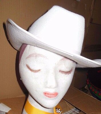 NEW/box 1 DOZEN Dance COSTUME White Felt Cowboy Hats Med or Lge Size adult