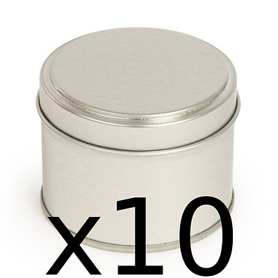 10 Candle tins~Make 10 silver colour candle container tins 200ml ~Round step lid