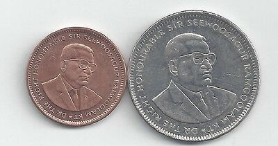2 DIFFERENT COINS from MAURITIUS - 5 CENTS & 1 RUPEE (BOTH DATING 2010)