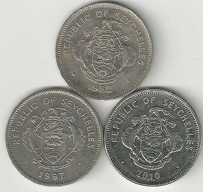 3 DIFFERENT 1 RUPEE COINS from SEYCHELLES DATING 1982, 1997 & 2010