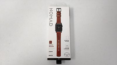 Nomad Watch Strap Band 42mm Apple Watch ‑ Rustic Brown with Black Lugs