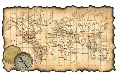 Ancient Map of the World Antique Style Map Poster 18x12