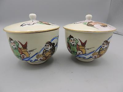 2 Vintage Chinese Hand Painted Tea Cups with Lids Chop Mark