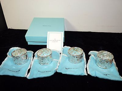 Louis Comfort TIFFANY Collection STERLING Silver NAPKIN RINGS MIB Blue Box SET/4