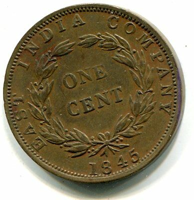 East India Company, Straits Settlements 1845 One Cent, KM #3, XF