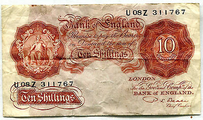 Great Britain 10 Shilling Note  Fine P-368b  -  311767