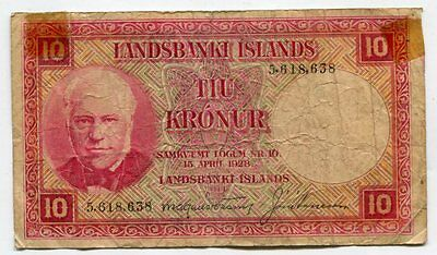 Iceland 1928 10 Kronur, Pick #33a, VG, tape on corners