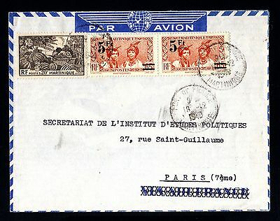 15496-MARTINIQUE-AIRMAIL COVER FORT de FRANCE to PARIS (france)1946.WWII.French