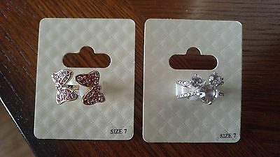 2 Disney Parks Womans Rings Size 7 Mickey Icon -Minnie Mouse Bows Stones New