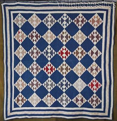 "Gorgeous ANTIQUE c1880 Indigo Blue Goose & Goslings Antique QUILT 75"" x 73"""