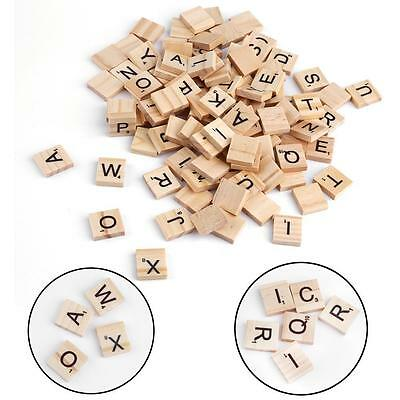 100Pcs Wooden Alphabet Scrabble Tiles Mixed Black Letters Numbers Crafts #1 BF