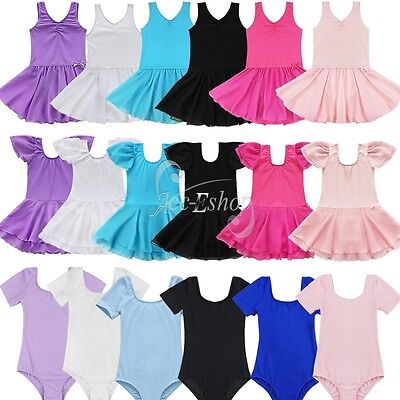 Girls Kids Gymnastics Leotard Ballet Dress Tutu Skirt Dancewear Costume SZ 2-14