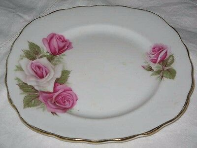 Royal Vale England Two Tone Pink Roses Bone China B&B Plate 15.5cm Wide Gold Rim