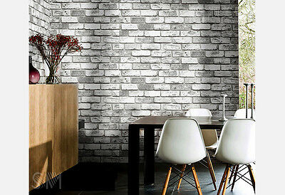 3D Rustic wash brick look White Grey wallpaper industrial shop fitting wallpaper