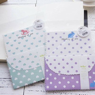 Cute lace Dots Letter Set - 4sh Writing Stationery Paper + 2sh Envelope 1set