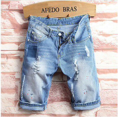Men's Skinny Runway Straight Denim Shorts Pants Destroyed Ripped Jeans Trousers