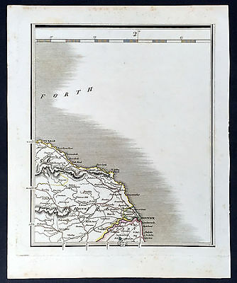 1794 Cary Antique Map Section East Scotland - from Dunbar to Berwick on Tweed