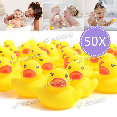 50 Pcs Rubber Duck Bath Toy Bathtime Squeaky Water Play Fun Kids baby