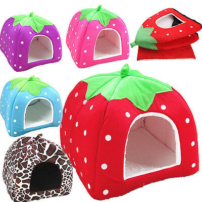 Cartoon Strawberry Pet Igloo Dog Cat Bed House Kennel Doggy Fashion Cushion Pad