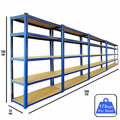 4 Racking Bays 5 Tier Boltless Garage Shelving Unit Storage Rack Heavy Duty Blue
