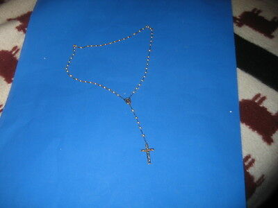 VINTAGE Sterling Silver Religious Rosary Beads Necklace with Cross