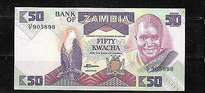 ZAMBIA #28a VF OLD 1986 CIRCULATED 50 KWACHA BANKNOTE NOTE CURRENCY PAPER MONEY
