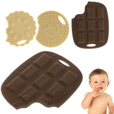 Baby Toddler Silicone Teether Food Grade 3D Cookie Choc Teething Necklace Toy