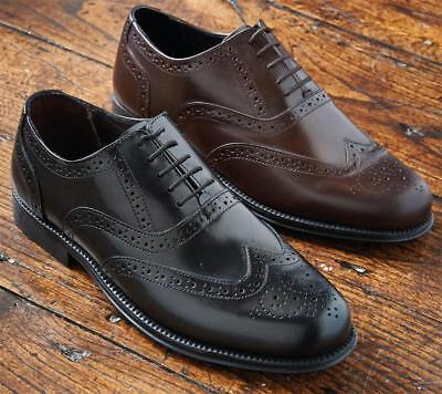 Mens Brogue Formal Shoes Smart Casual Genuine Leather Lace Up UK Sizes 5-13 NEW