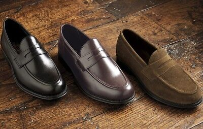 Mens Real Leather Classic Penny Loafer Slip On Shoes Glued & Hand-Stitched Sole