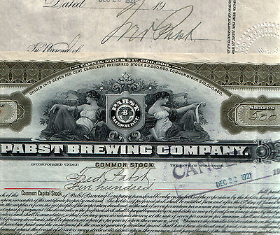 1ST PUBLICLY TRADED PABST STOCK ISS 2/SIGNED BY FRED PABST! 200 shs 500 shs $399