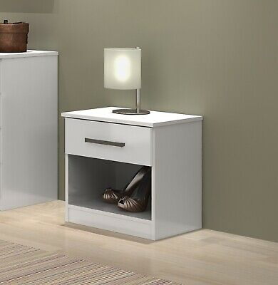Arezo White High Gloss Bedroom Furniture Sets Wardrobe Drawers Chest Bedside