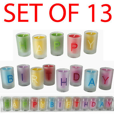 Set Of 12 Happy Birthday Letter Candles Decoration Glass Pot Party Gift Kids New