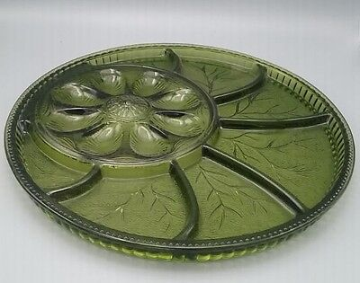 """Green Indiana Tree of Life Egg Relish Plate 12.5"""" Appetizers Hors d'Oeuvres"""