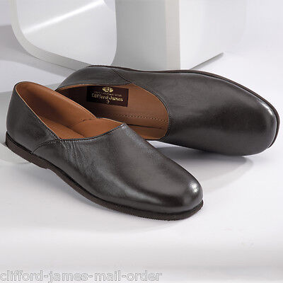 Mens Slippers Genuine Leather Carlton Grecian Slip On Brown UK Sizes 5-14 NEW