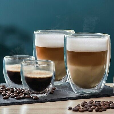 Coffee Glass 2 / 4 Cups Double Walled Latte Cappuccino Espresso Glasses NEW