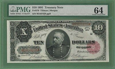 1891 $10 Treasury Note F-370 Pmg 64 Choice Uncirculated