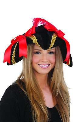 ca17459ce87 Womens Black Pirate Buccaneer Tricorne Hat w  Red Bows Feather Costume  Accessory