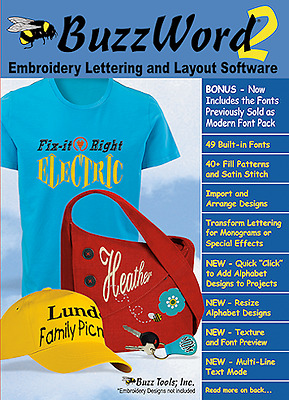 BuzzWord 2 Embroidery Lettering & Layout Software w/ BONUS Font Pack~NEW SEALED!