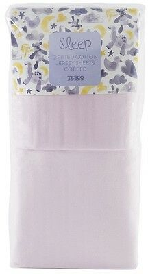 Tesco 2 Fitted Cotton Jersey Sheets for Baby Cot Bed - Pink