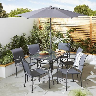 NEW Tesco Valencia Metal 8-Piece Garden Dining Table & 6 Chairs Set with Parasol