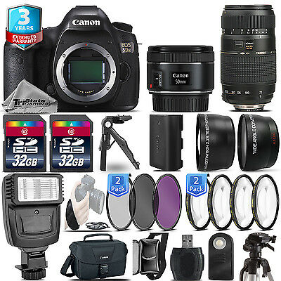 Canon EOS 5DS DSLR Camera + 50mm 1.8 STM + 70-300mm + 2yr Warranty- 64GB Kit