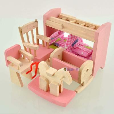 Wooden Furniture Dolls House Family Miniature Nursery Room Dolls For Kids Hot #4