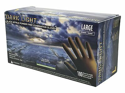 Adenna Dark Light 9 mil Nitrile Powder Free Exam Black Gloves Large Box of 100
