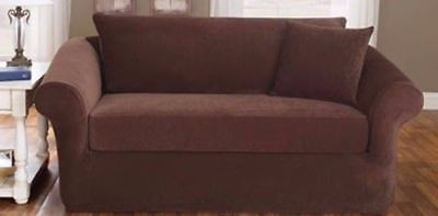 Swell Sofa Loveseat Slipcover Sure Fit Stretch Pique Chocolate Gmtry Best Dining Table And Chair Ideas Images Gmtryco