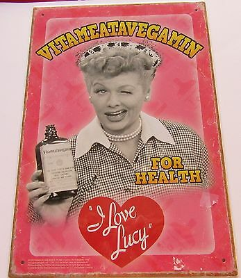 """I Love Lucy Metal Sign- Vitameatavegamin- Pink Background -8.5"""" X 11"""" Lucy"""