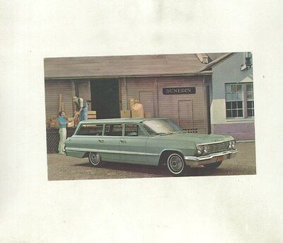 1963 Chevrolet Impala 9 Passenger Station Wagon ORIGINAL Factory Postcard ft2188