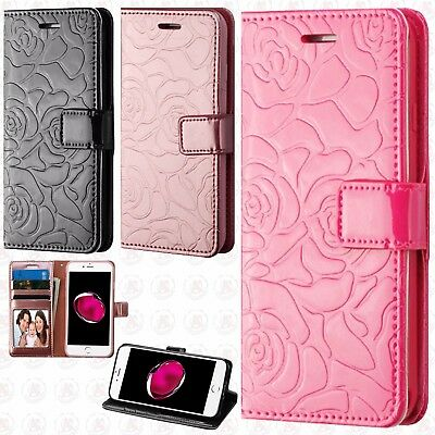 Apple iPhone 7 & 7 PLUS ROSE Leather Wallet Case Pouch Flip Cover + Screen Guard